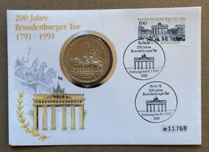 Numisbrief BRD 1991 Medaille 200 Jahre Brandenburger Tor
