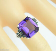 Emerald & Amethyst Ring Size 55 Silver 925 Antique Style Sterling Silver
