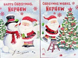 NEPHEW CHRISTMAS CARD  ~ CHOICE OF 2 FUN SANTA DESIGNS ~ QUALITY CARD