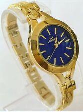 Reloj de pulsera señoras azul oro Metal Correa de lujo elegante Clásico Delgado Reino Unido Nuevo