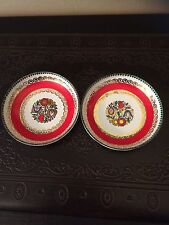 Two Vintage Signed Handmade In Austria Gold Painted  Porcelain Trinket Dishes
