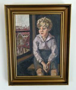 CHRISTIAN AIGENS (1870-1940) Oil Painting YOUNG BOY SAT IN WINDOW PORTRAIT