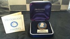 Wedgwood Gold Plated Hallmarked Silver Brooch or Pendant blue white jasperware
