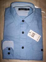 NWT $70  NAUTICA MENS L/S SPREAD COLLAR SOFT SHIRT- LIGHT BLUE- XL /  X-LARGE
