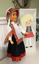 "Vtg Doll Soviet USSR Latvia Plastic BAIBA Traditional Costume 1970s Box 17.5"""