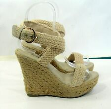"new Beige 5.5"" High Wedge Heel 1.5"" Platform Open Toe Sexy Shoes women Size 9"