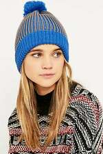 eded9ebb544bd Urban Outfitters Grey Ribbed Striped Bobble Hat - Blue Grey - RRP £18 New