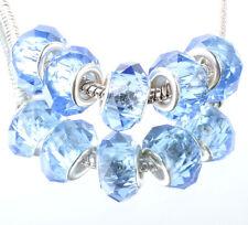 5pcs silver spacer beads fit Charm dark blue crystal European Bracelet DIY #B348