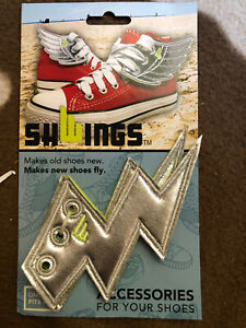Shwings Silver Lighting Bolt Shoe Wings Accessories, Lace To Any Shoe, NEW
