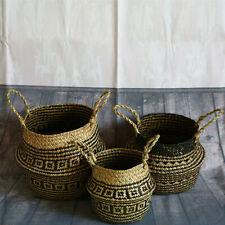 Retro Pattern Folding Natural Seagrass Plant Storage Basket Pot Box Handle Round