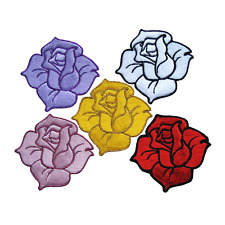 Rose Flower Patch Embroidered Iron On Patches Floral Dress Applique Badge Craft