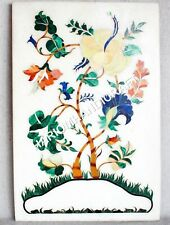 """18""""x12"""" White Marble Coffee Table Top Marquetry Floral Inlay Handmade Decor C664"""