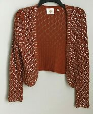 Anthropologie Monogram Medium Burnt Orange Sequin Embellished Crochet Cardigan