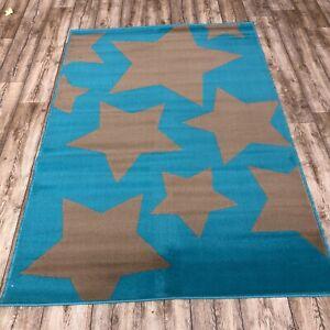Quality taupe blue star Rug 120cm x 170cm kids bedroom lounge Print (640)