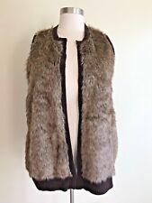 RELATIVITY Women's Size XL Brown Knit Faux Fur Cardigan Sweater Vest