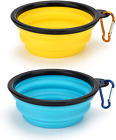Depets 2 Pack Collapsible Dog Bowl Portable Dog Bowls for Travel Fodable