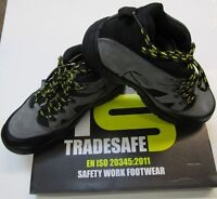 MEN'S TRADE SAFE LEATHER STEEL TOE CAP SAFETY WORK TRAINERS SHOES BOOTS