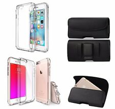 SOFT SLIM TPU CLEAR CASE iPhone 7 & A BLACK BELT CLIP LEATHER HOLSTER POUCH