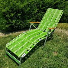 New listing Vtg Aluminum Chaise Lounge Chair Webbed Folding Wood Arm Reclining Poolside Lawn