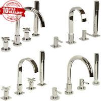Modern 4 Hole Bath Shower Mixer Taps Chrome, Single lever, Cross Head Handles