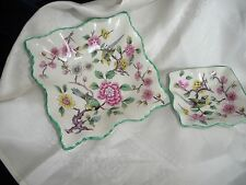 #44 A vtg 2 OLD FOLEY SMALL JAMES KENT STAFFORDSHIRE DISHES  BIRD FLOWERS