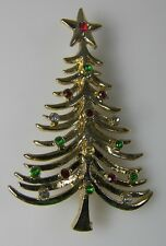 """TANCER II Vintage CHRISTMAS TREE PIN BROOCH SignedHoliday Jewelry 2.5 x 1.75"""""""
