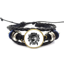 Wolf Dreamcatcher Glass Cabochon Bracelet Braided Leather Strap Bracelet