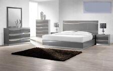 Modern  6 Pcs Bedroom Set Eastern King Size Bed Headboard W LED light in Gray