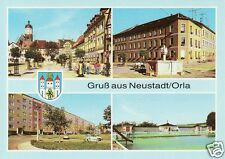 Ansichtskarte Neustadt / Orla - Markt, Neubaugebiet Süd, Freibad