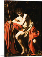 Saint John the Baptist in the Wilderness 1604 Canvas Art Print by Caravaggio