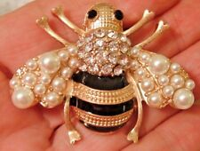 BROOCH BLACK GOLD STRIPED BEE FAUX PEARLS RHINESTONES BUMBLEBEE HONEY QUEEN PIN