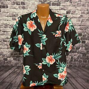 Vtg Royal Creations Hawaiian Shirt Black & Red Hibiscus 100% Polyester Size L