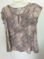 Joie 100% Silk Snakeskin Print Short Sleeve Blouse Gray Small Keyhole Top