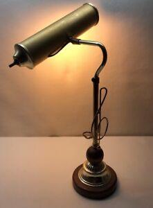 Vintage Mid Century Modern Retro Brass And Walnut Treble Clef Music Desk Lamp