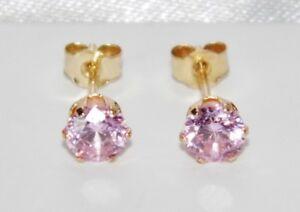 9ct Yellow Gold Pink Topaz Ladies Stud Earrings