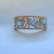 Brazilian Aquamarine & Diamond Gold Band Ring