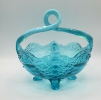 Jefferson Glass No. 91 (OMN) 1906-08 Blue Opalescent Basket aka Old Man Winter