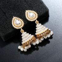 Retro Indian Wedding Earrings Pearl Pendant Jhumka Drop Ear Stud Dangle Jewelry