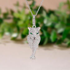 1.75 Ct Leopard & Sim Diamonnd  Womens Pendant Only 14K White Gold Plated Silver