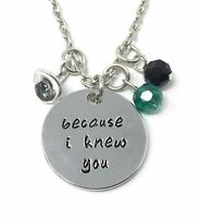 925 Silver Plt 'Because I Knew You' Engraved Necklace Wicked Witch Good Hat A