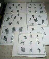 16 Vintage 1990 Spaulding & Rogers Tattoo Flash Art Sheets Tribal B&W T Series