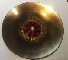 Vintage Mcm Modernist Enamel on Copper Dish Bowl Gold