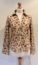 PER UNA MARKS AND SPENCER SHIRT BLOUSE GREEN  FLORAL SIZE 12 COTTON BUTTON