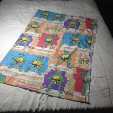 Vintage 1988 Teenage Mutant Ninja Turtles TMNT Flat Twin Sheet Bedding Fabric