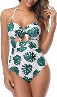 Tempt Me Women Cutout Bikini High Waist One Piece Tie, White Leaf, Size Large