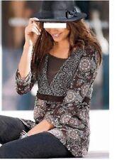 Tunika Shirt braun bunt figurumspielend 3/4 Arm Viscose Elasthan M L XL 503 neu