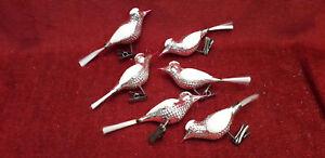 6 anciens  OISEAUX  à pince de noel en verre / old christmas ornaments
