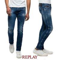 REPLAY jeans da uomo ANBASS taglia W29 L32 slim destroyed elasticizzato vintage