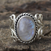 Vintage Boho Tibetan Oval Natural Crystal Rainbow Moonstone Ring for Women New