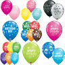 "6 x HAPPY BIRTHDAY Latex Balloons 11"" - Assorted Colours {Qualatex}"